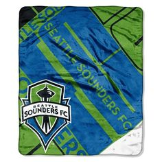 """Seattle Sounders Official Major League Soccer, """"""""scramble"""""""" Raschel Throw By The Northwest Company Mls Soccer, Soccer Flags, Columbus Crew, Colorado Rapids, Seattle Sounders, Major League Soccer, Micro Fleece Fabric, Saturated Color, Team Logo"""