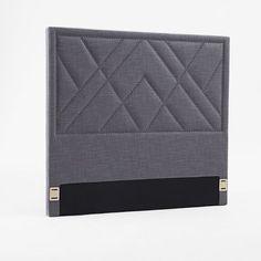 Patterned Nailhead Upholstered Headboard - Twin, Steel Gray