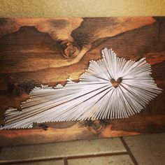 """String art of the state of Kentucky. Place the heart in your favorite part of the state. """"Home is where the heart is."""""""