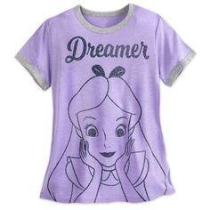UFFICIALE WOMEN/'S Disney Alice nel paese delle meraviglie nero Boyfriend T-shirt