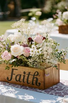 A lovely flower box of spring flowers held together by a simple wood box with the word Faith, a beautiful reminder of why we celebrate Easter.