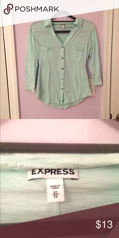 Express button down shirt Mint button down shirt from express. Very light and comfy and can be worn casually with jeans  or with a pair of dressy pants. Worn only once because it didn't fit anymore. There are 2 pockets in the front. 60% cotton, 40% modal. Express Tops Button Down Shirts
