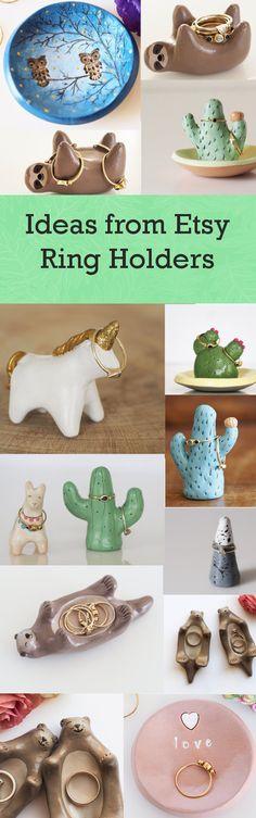 DIY | Etsy | Ring Holders | Ring Holder | Clay | Animal | Sloth | Owl | Otter |  Wedding | Rings | Ring | Cactus | Unicorn