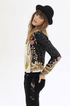 embroidered, sequin jacket + skinnies + beaded belt~ I think I pinned this before, but it's beautiful enough to do again!