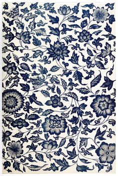 From a blue and white China bottle. This composition is a fine example of conventional representation of natural flowers; but for the peculiar character of the termination of some of the leaves, it would pass for Indian or Persian. From Examples of Chinese ornament, by Owen Jones, London, 1867. (Source archive.org.)