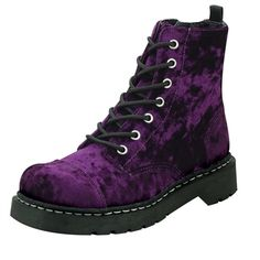 Shop a huge selection of Goth platform boots and punk boots for women. Our Gothic boots for women include platforms, heels, combat style, and much more! Crazy Shoes, Me Too Shoes, Funky Shoes, Gothic Boots, Purple Boots, Purple Velvet, Dark Purple, Violet, Ankle Booties