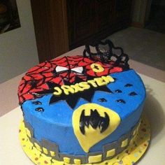 This is a birthday cake for a little boy turning three. It is a chocolate cake covered in Buttercream with Fondant decorations. Superhero Cake, Superhero Birthday Party, Birthday Ideas, Birthday Stuff, 4th Birthday, Birthday Cakes, Birthday Parties, Book Cakes, Fondant Decorations