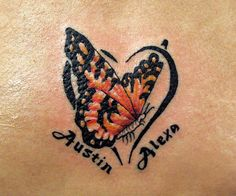butterfly heart name tattoo