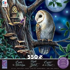 This 550 piece puzzle by artist, Lisa Parker, depicts an owl perched in a tree and fairy in front of a door. Fantasy Landscape, Fantasy Art, Lisa Parker, Sitting In A Tree, Book Of Shadows, Wonderful Images, Faeries, Amazing Art, Disney