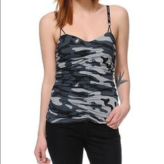 Like New! FOX Black Grey Camo Print Cami Tank Top Boutique purchase last year, and just haven't worn it. The gathered style gives it such a flattering fit! 100% cotton. Excellent condition! Fox Tops Tank Tops