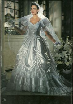 A pickup skirt on a 1980s bridal gown