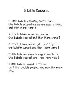"""5 Little Bubbles"" Poem / Fingerplay (from Kindergarten Nana):"