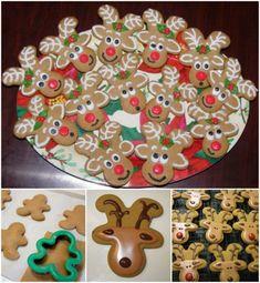 Upside Down Gingerbread Men Reindeers Cookie Recipe
