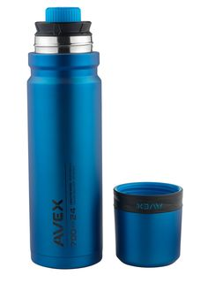 AVEX 3SIXTY POUR Vacuum Insulated Thermal Bottle, Blue, 700 mL/24 oz. Vacuum-insulation keeps beverages hot for up to 16 hours or cold for up to 30 hours. 360 degree pour spout interface allows for a smooth pour at every angle. Leak and spill proof lid with a half-turn valve for easy opening. Double wall cup to keep beverages at the perfect temperature while on the go. Exclusive, patent-pending, base design grips table tops and reduces clanking.
