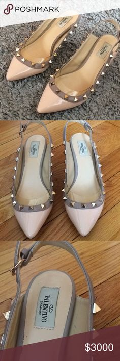 HELP. Valentino Rockstud slingback pumps. Happy easter! 🐰  These are not for sale because I do not know if they are authentic or not. I would love for someone who is expert in Valentino shoes to chime in. I got these gifted to me from my neighbor who wears same size. They are very pretty and very comfortable but I also prefer ballet flats. normally wear a 7 and these fit perfect.  Please let me know what you think, thanks so much. The price is outrageous on purpose so no one purchase…