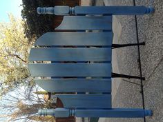 Annie Sloan Greek blue distressed headboard