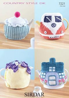 There is always time to stop for tea, and here we have a collection of 4 imaginative tea cosies for you. Whether you plan tea on the lawn or a trip to the teashop of your dreams, with 2 knitted and 2 crocheted designs to choose from, there is sure to be one to please. Created using Sirdar Country Style DK 50g, a soft but hardwearing yarn which is ideal for homeware. The cottage-style Knitted House has embroidered flowers added for extra authenticity and the fabulous Knitted Campervan ev...