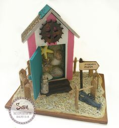Beach Hut by The Crippled Crafter, mixed media miniature featuring That Craft Place MDF