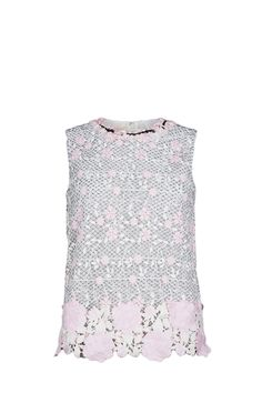 Giambattista Valli top with floral emboridery, lace detail at the bottom, flower applications around the neck, silk lining and concealed zip closure in the back The model is 1,75m tall and is wearing size 38