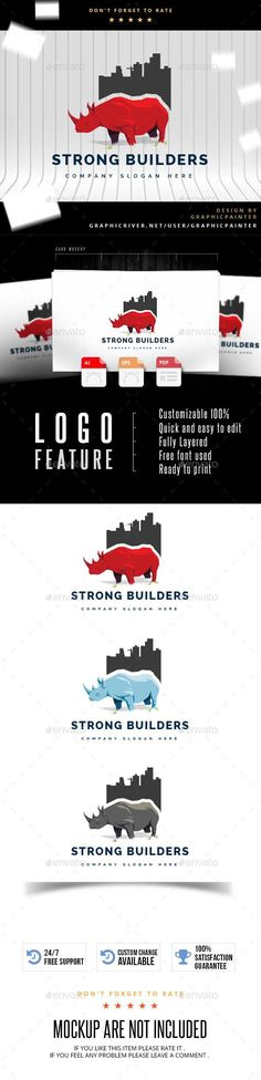 Buy Strong Builders by colorgum on GraphicRiver. S P E C I F I C A T I O N S Customizable Quick and easy to edit Fully Layered Free font used Ready to print I N. Real Estate Logo Design, Best Logo Design, Graphic Design, Building Logo, Blue Building, Green Logo, Information Graphics, Artist At Work, Logo Templates