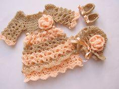 Crochet pattern 3 PATTERNS in one 4 SIZES Baby Dress Hat Shoes Baby Dress Crochet  $9.00 USD