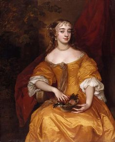 """Margaret Brooke, Lady Denham"""" by Sir Peter Lely (1663-1665) in the Royal Collection, UK - From the curators' comments: """"Margaret Brooke was the daughter of Sir William Brooke. In 1665 she married Sir John Denham but soon became known as the Duke of York's mistress."""""""