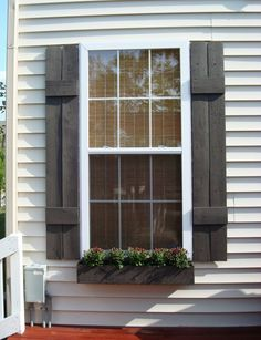 DIY Shutters Via: Thrifty Decor Chick: The details of the deck. House Shutters, Diy Shutters, Window Shutters, Rustic Shutters, Exterior Shutters, Country Shutters, Painting Shutters, Stucco Exterior, Fence Painting