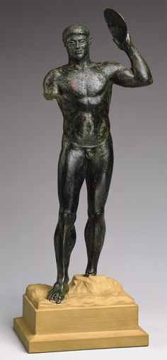 Statuette of a diskos thrower, ca. 480–460 B.C.; Classical. Greek. Bronze; H. 9 5/8 in. (24.5 cm)