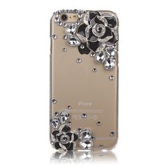iPhone 6S Plus Case, Sense-TE Luxurious Crystal 3D Handmade Sparkle Glitter Diamond Rhinestone Ultra-Thin Clear Cover with Retro Bowknot Anti Dust Plug - Camellia Flower / Black:Amazon.co.uk:Electronics