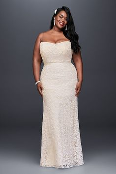 Fresh, pretty, and perfect for any wedding, this guipure lace sheath gown boasts clean lines and beautiful texture. Keep the look simple with minimal accessories, or embellish the look to your heart\' Bridal Party Dresses, Lace Bridesmaid Dresses, Bridal Gowns, Gown Wedding, Bride Dresses, Wedding Bells, Lace Wedding, Dream Wedding, Davids Bridal Plus Size