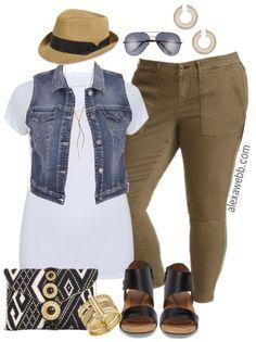 Plus Size Denim Vest Outfit - Plus Size Spring Outfit Idea - Plus Size Fashion for Women - alexawebb.com #alexawebb #plussize