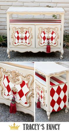 vintage furniture Whimsical Furniture - Red and White Harlequin Traceys Fancy Decor, Repurposed Furniture Diy, Redo Furniture, Refurbished Furniture, Recycled Furniture, Whimsical Furniture, Cool Furniture, Vintage Furniture, Whimsical Painted Furniture