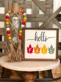 Your place to buy and sell all things handmade : Hello Fall Wood Sign Wood Bead Garland, Beaded Garland, Diy Garland, Fall Crafts, Holiday Crafts, Christmas Gifts, Holiday Decor, Fall Wood Signs, Fall Signs
