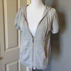 Eddie Bauer Sport Zip Front Hoodie Short sleeve partial zip hoodie with front pockets. 100% cotton Eddie Bauer Tops Sweatshirts & Hoodies