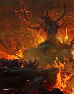 The Dark Iron Dwarves by Stanton Feng World of Warcraft Chronicle Volume 3 Dark Fantasy Art, Fantasy Artwork, Fantasy Demon, Fantasy Concept Art, Demon Art, Fantasy Monster, Fantasy World, Fantasy Creatures, Mythical Creatures
