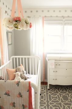 Easy to change around for the baby's taste as she gets older. Baby Bedroom, Baby Room Decor, Nursery Room, Girl Nursery, Girl Room, Kids Bedroom, Peach Nursery, Nursery Ideas Girls, Baby Girl Nusery