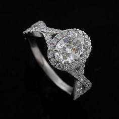 Oval Diamond Infinity Halo Style Platinum Engagement by OroSpot, $2399.00