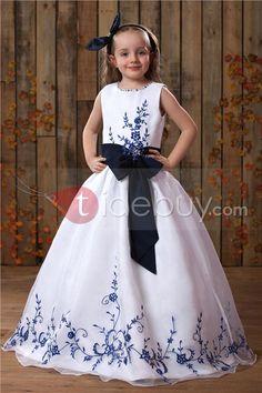 Floor-length A-line Embroidery Scoop Flower Girl Dress : Tidebuy.com