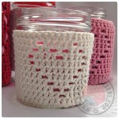 The Heart Shape Jar Candle Cover Crochet Pattern from Hooked On Patterns. Crochet this beautiful candle cover. All Free Crochet, Crochet Home, Crochet Gifts, Crochet Style, Crochet Bags, Knitting Patterns, Crochet Patterns, Yarn Sizes, Crochet Projects