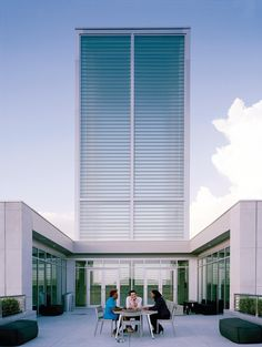 On top of the southern, plaza-facing entrance is a terrace that is adjacent to the buildings signature glass tower.