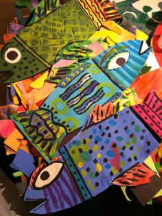 A school of fish - Could be a beginning of the year project. Each student in the school designing a fish that expressed themselves.