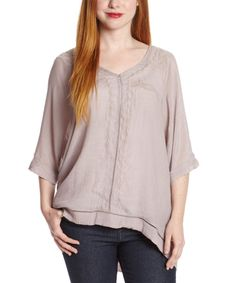 Look at this Taupe Embroidered Dolman Top on #zulily today!