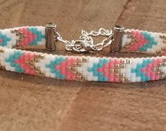 Loom beaded bracelet with waxed cord / Beaded bracelet made with Miyuki delica beads / Native inspired bracelet Crochet Motifs, Bead Crochet, Seed Bead Jewelry, Beaded Jewelry, Seed Beads, Friendship Bracelet Patterns, Friendship Bracelets, Loom Beading, Beading Patterns