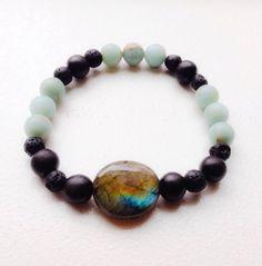 Beaded Gemstone Stretchy Bracelet Impression Jasper/ Lava Stone/ Ebony Wood/ Labradorite by mariaidadesigns