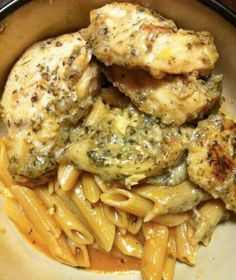 Ingredients ; 1/2 bottle(s) Lawrys Herb and Garlic Marinade 2 tablespoon(s) Pesto 2 Boneless Chicken Breasts 8 ounce(s) Penne Pasta 1/2 box 2 tablespoon(s) Olive Oil 3 clove(s) Garlic minced 2 tablespoon(s) Pesto 1/2 cup(s) chicken broth 8 ounce(s) Tomato Sauce 1 cup(s) half-and-half 1 tablespoon(s) Flour as needed Preparation : Cut chicken into one …