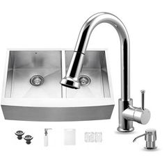 Vigo All-in-One 33 inch Farmhouse Stainless Steel Double Bowl Kitchen Sink and Chrome Faucet Set, Silver
