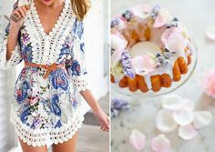 post 48 - Sweets And Outfits - delicious match #floral #dress #minidress #cake #flowers #color #palette #rose #petals #creative #combinations #food #photography #fashion #styling