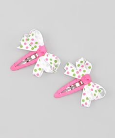 #Pink & #Lime Polka Dot Snap Clip Set from Sweet Treat Bows on #zulily #girls #hair #accessories