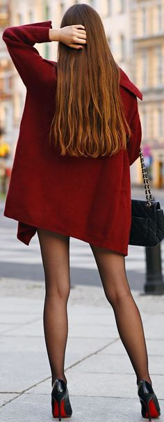 Help I Have Nothing To Wear Burgundy Coat And Loubs Fall Streetstyle Inspo Source