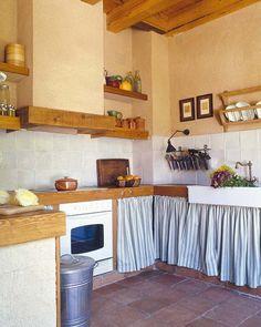 Záclonky, dekorace rustikální kuchyně